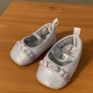 Silver newborn shoes